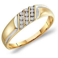 Mens Diamond Ring Engagement Three Row Wedding Band Fashion 10k Yellow Gold (0.12 ct.tw): Jewel Roses: Jewelry