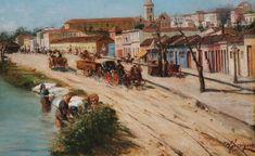 Pintura retratando a rua 25 de março em 1894 - by Antonio Ferrignoe