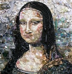 Button and bead art by Jane Perkins