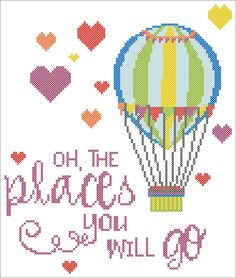 "BOGO FREE!  Dr. Seuss quote - ""Oh, the places you will go!""- cross stitch pdf Pattern - pdf pattern instant download  #172 by Rainbowstitchcross on Etsy"