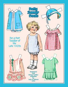 Pretty Summer Frocks for a toddler of the 1920s, a paper doll by Judy M Johnson