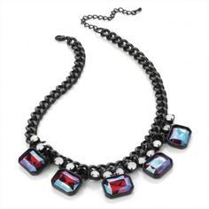 Black Enamel AB Red Effect Colour Bead Chain Choker Necklace