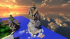 airship world minecraft | Medieval/Steampunk Island With Airship Minecraft Project