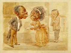 La Declaración de Amor (La Declaración de amor) Víctor Patricio Landaluze ca 1880 tinta y acuarela sobre papel grueso establecidas a bordo de 4 x 5 1/2 pulgadas 04537