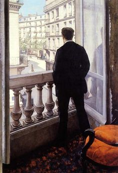 Gustave Caillebotte (French 1848–1894) [Impressionism] Jeune homme à la fenêtre (The artist's younger brother René in the home on rue de Miromesnil) 1875. Private collection.