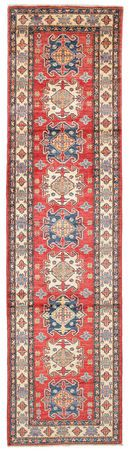 This carpet is woven in Pakistan. The patterns are inspired by Russian geometric patterns and the wool used is made from natural vegetable dyes.