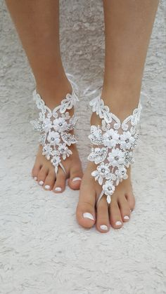 barefoot sandals white Beach wedding shoes Elegant by UnionTouch
