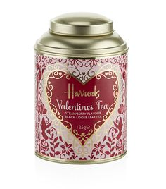 Amorously sprinkled with sugar hearts and strawberry pieces, treat a loved one with the aromatic blend of a Valentine's loose leaf tea. It will make the perfect Valentine's Day gift. Tea Canisters, Tea Tins, Black Strawberry, Tea Box, Loose Leaf Tea, My Tea, Harrods, Vintage Tea, Snack