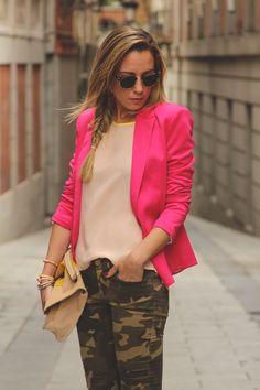 pink blazer + camo pants