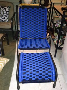 Upcyled macrame lawn chair and ottoman                              …
