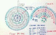 꽃 호떡 수세미 도안 손그림 : 네이버 블로그