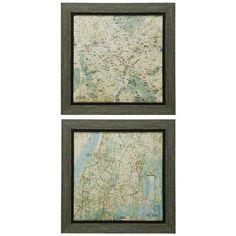 Weathered Wood Framed Map Prints Set of 2