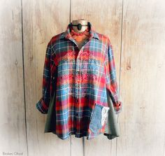 Colorful Plaid Plus Size Clothing Oversize Flannel Shirt Open Front Loose Fitting Top Layering Clothes Boho Chic Style Mandala Top 2X 'TESSA