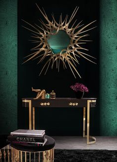 @KOKET Love Happens Projects with Guilt Mirror, black and gold furniture, gold detail, black furniture, black console, luxury furniture , Orchidea Console and Mandy Stool, decor trends 2015 http://www.bykoket.com/projects.php