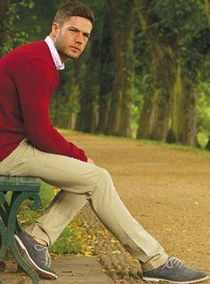 Red Jumper, White Shirt & Beige Chinos