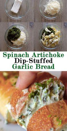 Spinach Artichoke Dip-Stuffed Garlic Bread