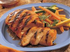 Grilled Apple- and Ginger-Glazed Chicken Breasts - Teriyaki with a twist. Yummilicious! Makes 2 servings; double the recipe for 4 or triple for 6.