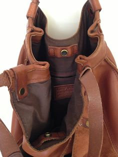 Lucky Brand Soft Caramel Brown Leather and Suede Large Slouchy