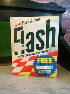 Unopened and almost unscathed, this box of 'Flash' cleaning powder makes a lovely little collectable.  Salvaged from the demolition of a house that sat still in time with almost all its original contents for nearly 30 years, from furniture to kitchenware, clothes and books.  You will find Vintage style branding, old English currency and even a mop voucher dated September 1968 printed on this piece. An interesting piece of memorabilia.