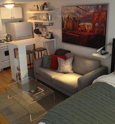 Inspiring Small Apartment Interior Design Ideas To Try – Decorating Ideas Tiny Studio Apartments, Studio Apartment Layout, Small Apartment Interior, Studio Apartment Decorating, Apartment Design, Apartment Ideas, Studio Layout, Room Interior, Kitchen Interior
