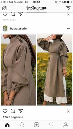 Natural fabric dress, brown, girly, puffy sleeves , - Home Decor Abaya Fashion, Muslim Fashion, Modest Fashion, Fashion Dresses, Modest Wear, Modest Dresses, Modest Outfits, Bastilla, Casual Hijab Outfit