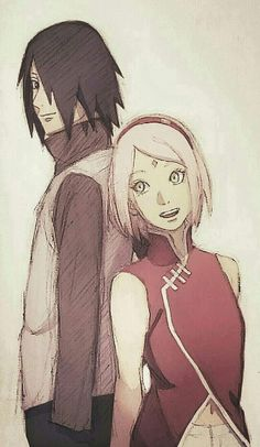 Sasuke and Sakura Uchiha Official Sketch Colored ❤️❤️❤️