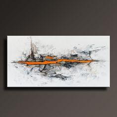 48 ORIGINAL abstrakte Malerei schwarz weiß grau Orange von itarts