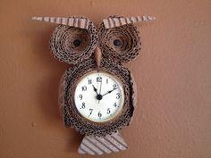 Cardboard Owl Wall Clock - $45.00 - www.etsy.com/listing/120951917/cardboard-owl-wall-clock?ref=v1_other_1