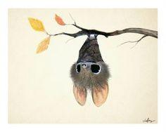 Un adorable murcielaguito por la ilustradora Sydney Hanson <3