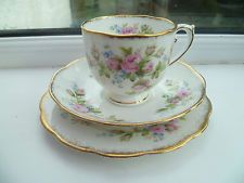 Lovely Vintage Roslyn China Trio Tea Cup Saucer Plate Moss Rose