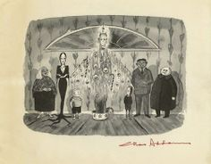 Addams Family Xmas lithograph by Charles Addams Addams Family Cartoon, Addams Family Tv Show, Adams Family, Cartoon Familie, Charles Addams, Morticia Addams, Drawn Art, Victorian Goth, Gothic