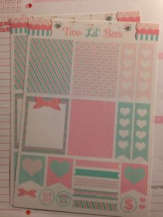 Decorating Kit  Pink and Mint  Stickers Perfect by TwoLilBeesCo