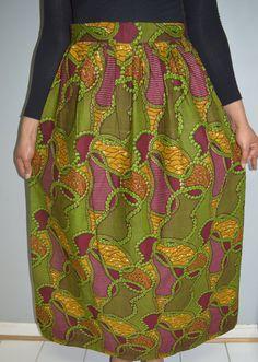 Dandelion Ankara Maxi skirt African Print skirt Maxi by Nopoku