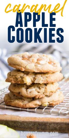 Caramel Apple Cookies. These easy to make, soft cookies are bursting with bits of fresh apple and chewy caramel. Fall Dessert Recipes, Delicious Cookie Recipes, Easy No Bake Desserts, Yummy Cookies, Fun Desserts, Fall Recipes, Easter Desserts, Baking Recipes, Breakfast Recipes