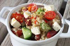 Quinoa Greek Salad ~ Fresh Mediterranean flavors are infused in this quinoa salad.