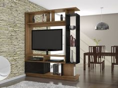 Different Functional Spaces Small Room Divider — Home Designs and Style Tv Stand Room Divider, Small Room Divider, Living Room Divider, Living Room Tv, Room Dividers, Room Divider Shelves, Room Shelves, Living Room Partition Design, Room Partition Designs