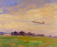 The Aerodrome, East Fortune, North Berwick: The Starting Point for British Airships of the North Sea Air Patrol, by John Lavery, date painted 1918.