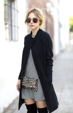 street style // stripes + leopard // winter style