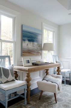 Use the space between two windows for desk/console. Chairs beside table for extra seating. Bench style seat can hide away when not in use.