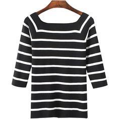 Chicnova Fashion Off Shoulder Knitted Sweater in Stripe (20 CAD) ❤ liked on Polyvore featuring tops, sweaters, off-the-shoulder sweaters, striped off the shoulder top, striped sweater, off the shoulder tops and knit top