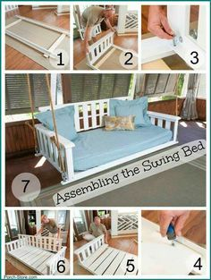 me Porch Bed Swing Plan Porch Swing Plans Porch Swing Plans Twin Bed Porch Bed, Diy Porch, Porch Ideas, Outdoor Spaces, Outdoor Living, Outdoor Benches, Outdoor Daybed, Backyard Swings, Porch Swings