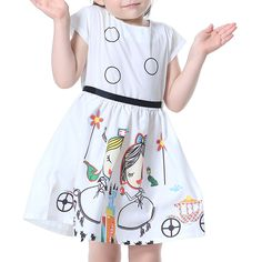 Sale 14% (17.59$) - Kid Girls Short Sleeve Cartoon Character Printed Dress