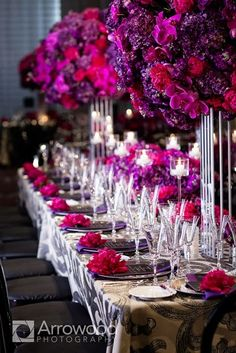 Purple wedding decorations.