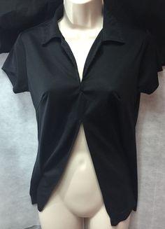 Black Open Belly Shirt Split down midlle Short sleeve Girls fashion Clubbing top #FoxyFire #Belly #Clubwear