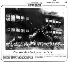 NY, N. Tonawanda, Pine Woods School, photo/article (1975-05-03, Tonawanda News) from a man who was a student in 1919.....it was the first school I went to when we returned from overseas and then again for 7th grade (late 1950's).