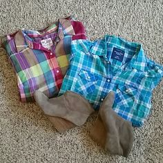 *St Patty's Day Sale* Button Up Bundle Long sleeve plaid button ups! Old Navy / AE Tops Button Down Shirts