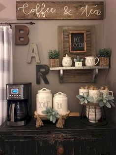 34 Interesting Diy Mini Coffee Bar Design Ideas For Your Home. If you are looking for Diy Mini Coffee Bar Design Ideas For Your Home, You come to the right place. Here are the Diy Mini Coffee Bar Des. Coffee Bar Station, Home Coffee Stations, Coffee Station Kitchen, Tea Station, Coffee Nook, Coffee Bar Home, Coffee Bar Ideas, Coffee Wall Art, Cozy Coffee