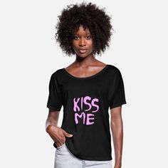 KISS ME Camiseta mujer con mangas murciélago Sweat Shirt, T Shirt Sport, T Shirt And Shorts, Crew Neck Sweatshirt, Pullover, Polo Shirt, Short T Shirt, Kings & Queens, Viscose Fabric