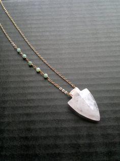 Rose Qurtz Arrowhead Necklace Pendant with Amazonite Beads Rose Quartz Jewelry Arrowhead Jewelry Rosary Necklace Boho Stone Pendant Gold