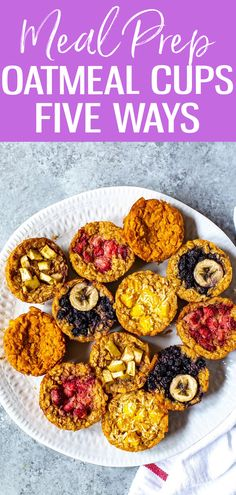 These Baked Oatmeal Cups are the perfect grab and go breakfast. Choose from 5 different variations, from mango coconut to apple cinnamon! #bakedoatmeal #mealprep Lunch Recipes, Whole Food Recipes, Breakfast Recipes, Sweets Recipes, Good Food, Yummy Food, Delicious Recipes, Yummy Treats, Baked Oatmeal Cups